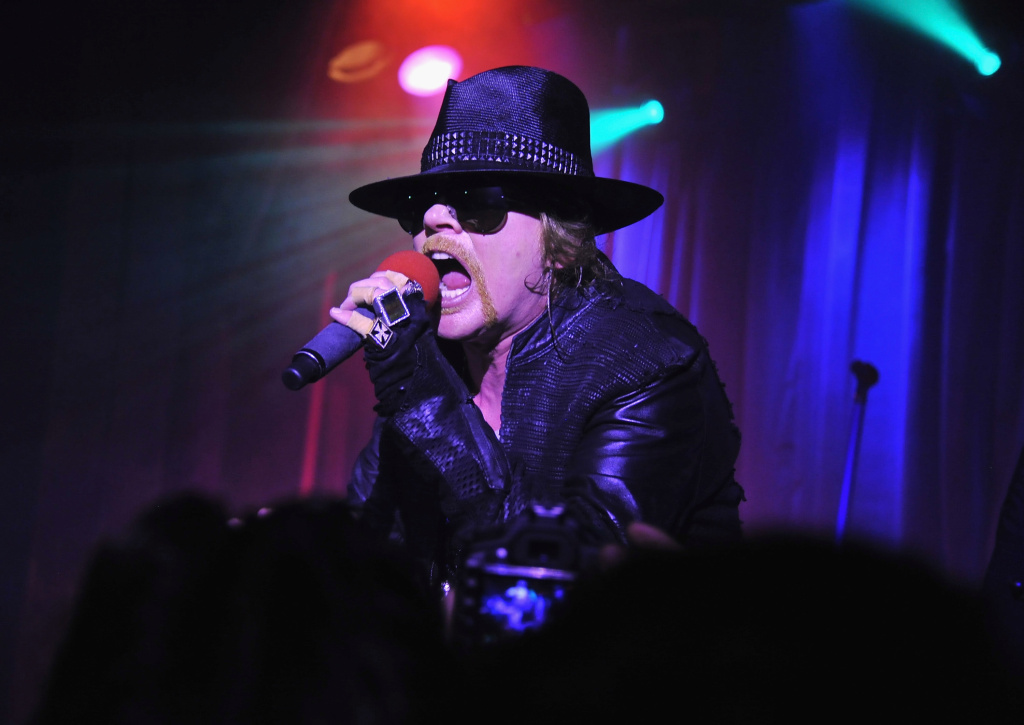 NEW YORK, NY - FEBRUARY 16:  Axl Rose of Guns N' Roses perform during the DeLeon Tequila with Nur Khan Electric Sessions Presents The DeLeon Rock Lounge featuring Guns N' Roses>> at the Hiro Ballroom at The Maritime Hotel on February 16, 2012 in New York City.  (Photo by Theo Wargo/Getty Images)