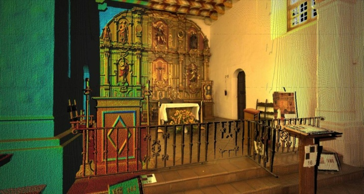 Perspective view of the facade at Mission Dolores created from laser scan data.