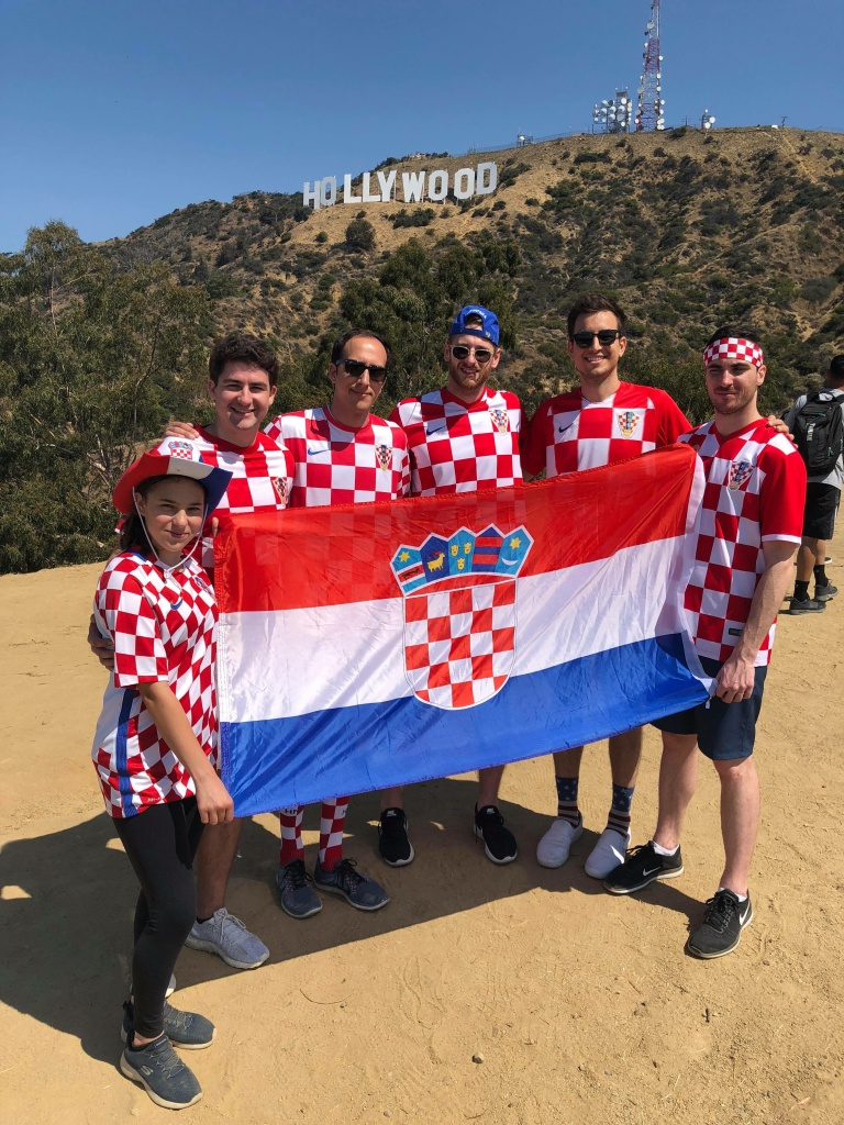 Croatian soccer fans with the L.A. Croatians or 'L.A. Vatreni' fan group are looking forward to the World Cup final. (Photo by Los Angeles Croatians)