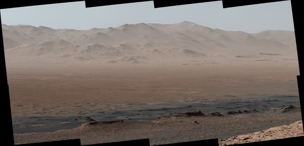 NASA's Mars rover Curiosity took photos from the Vera Rubin Ridge showing the interior and rim of Gale Crater. The full panoramic image features 16 photos stitched together.