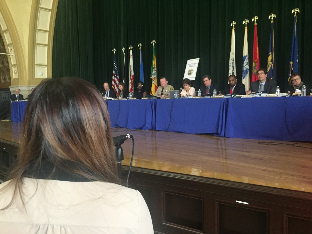 The Sheriff Civilian Oversight Commission conducted its first meeting at Patriotic Hall in downtown Los Angeles January 26, 2017, hearing concerns from police reform activists.