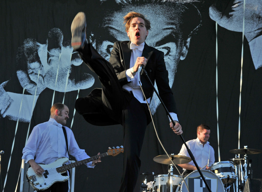 Singer Pelle Almqvist of The Hives performs onstage during day 3 of the 2012 Coachella Valley Music & Arts Festival at the Empire Polo Field on April 15, 2012 in Indio, California.