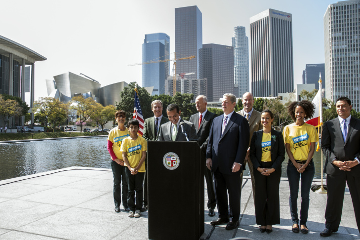 Former Vice President Al Gore congratulated Los Angeles on its initiative to rid itself of reliance on coal as a power source during a press conference outside the Los Angeles Department of Water and Power's John Ferraro Building, March 22.