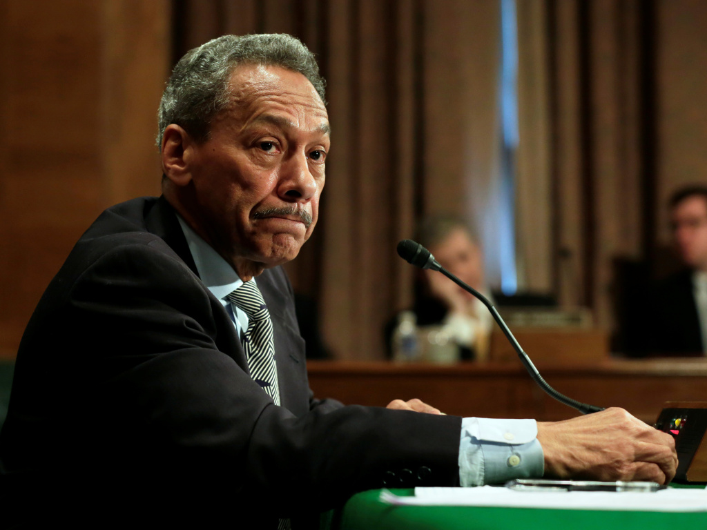 Federal Housing Finance Agency Director Mel Watt testifies at a Senate Banking Committee hearing May 11, 2017. A female employee says her secret recordings show that he held up her pay raise as he pressed her for a relationship.