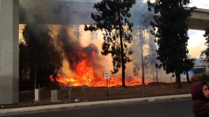 Grass Fire on the East Side of the 405 Freeway at the 118W Interchange