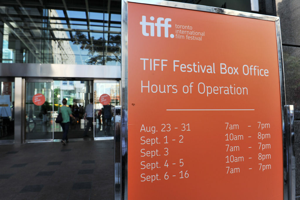 A general view of a TIFF signage prior to the 2012 Toronto International Film Festival on September 5, 2012 in Toronto, Canada.