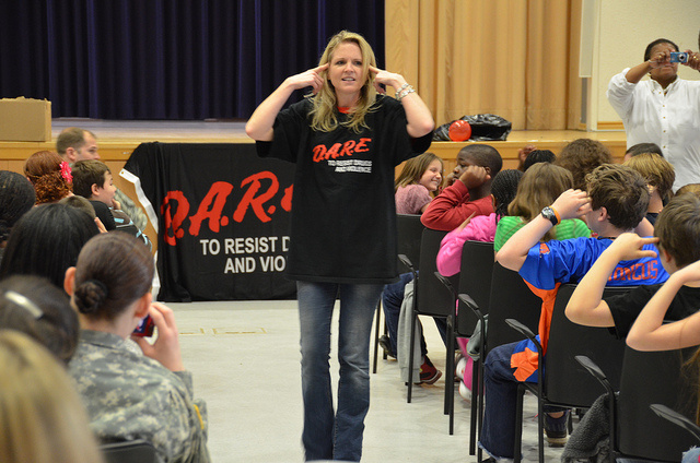 Fifth graders at U.S. Army Garrison Kaiserslautern in Germany at an assembly for the Drug Abuse Resistance Education program, or DARE.