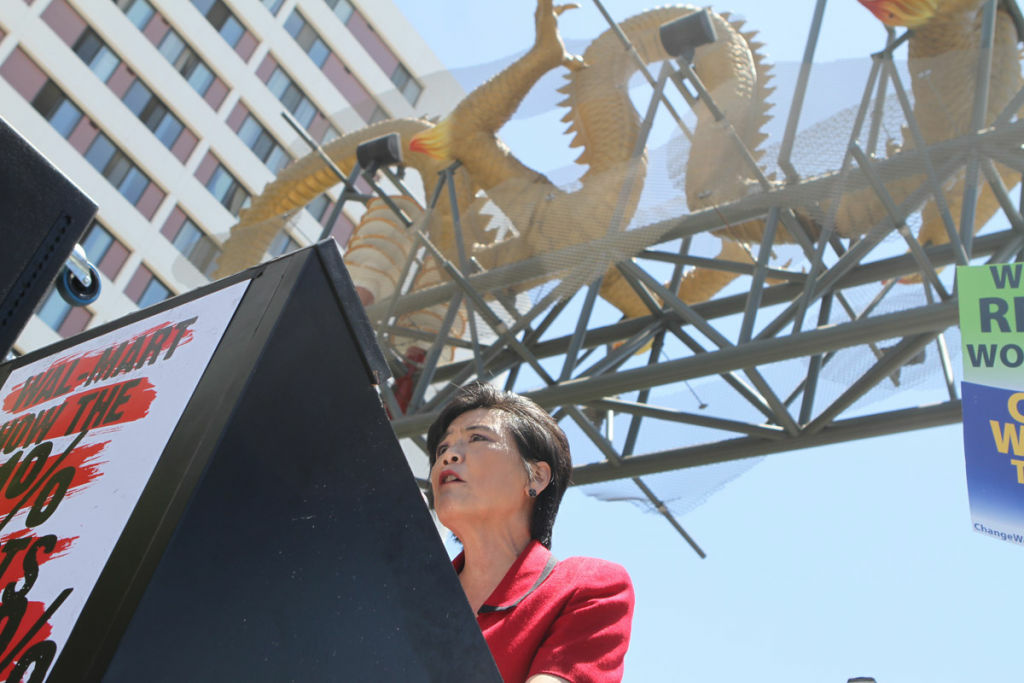 Congresswoman Judy Chu speaks at L.A.'s Chinatown Gateway. Chu wants to make military hazing a crime, after two cases led directly to the hazing victims' suicides. One of the victims was her nephew.