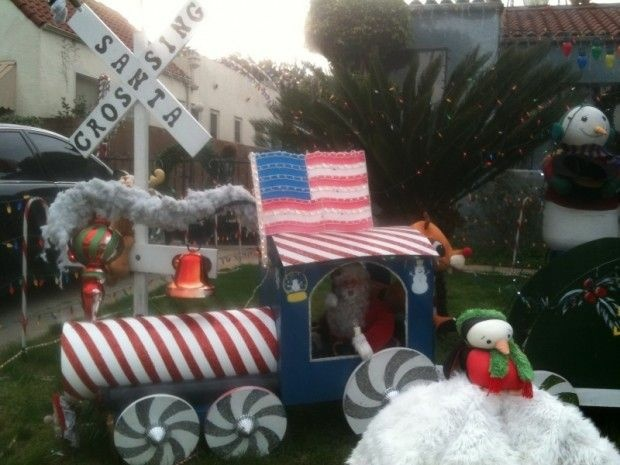 One of a series of well-decorated front lawns on an Alhambra street, December 23, 2010