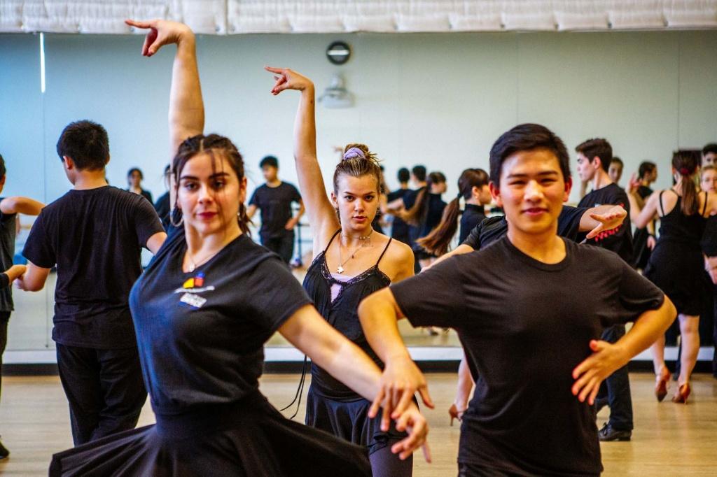 Ballroom dance class at the Orange County School of the Arts.
