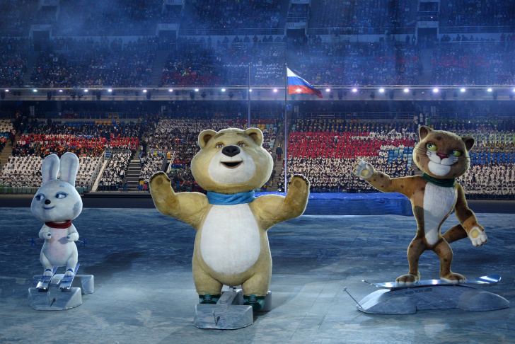 A member of the Russian Olympic team enters during the Opening Ceremony of the Sochi 2014 Winter Olympics at Fisht Olympic Stadium on February 7, 2014 in Sochi, Russia.