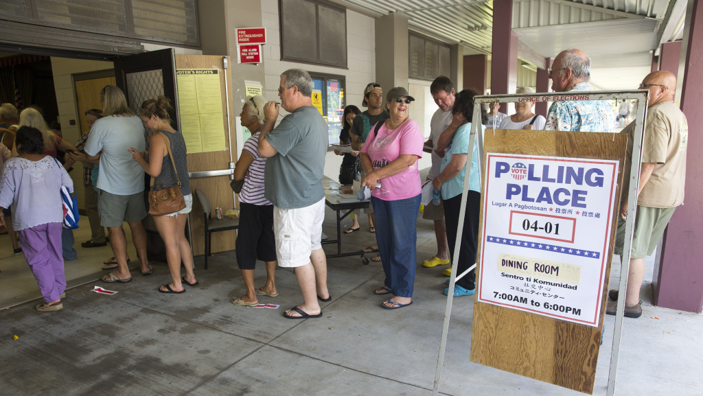 Voters crowd into their polling place Aug. 15 at Keonepoko Elementary School in Pahoa, Hawaii.