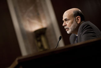Federal Reserve Chairman Ben Bernanke speaks during a hearing of the Senate Banking, Housing and Urban Affairs Committee on Capitol Hill July 21, 2010 in Washington, DC.