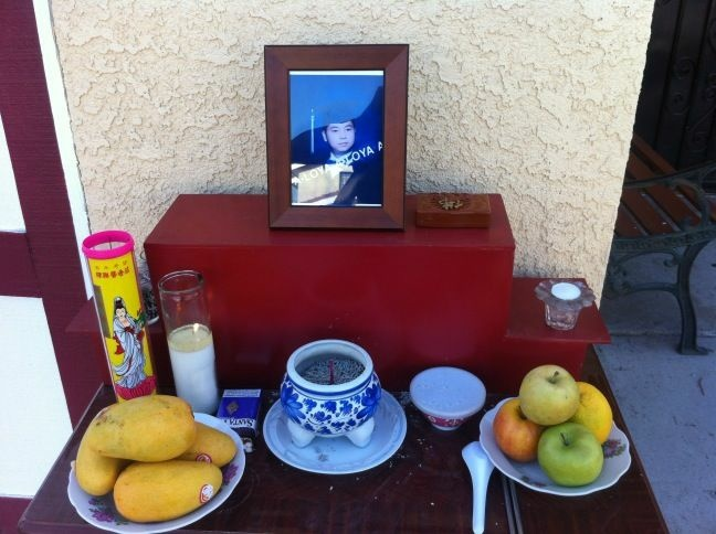 A memorial outside the home of Khoa Anh Le, who died after an altercation with El Monte police.
