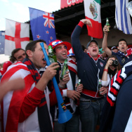 American fans gather outside the Royal Bafokeng Stadium on June 12, 2010 in Rustenburg, South Africa.