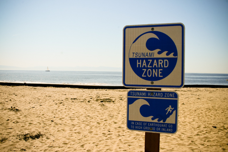 Tsunami Hazard Zone Sign On California Coast