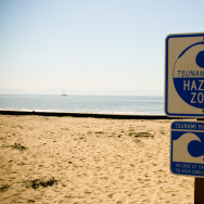Tsunami Hazard Zone sign on California coast.