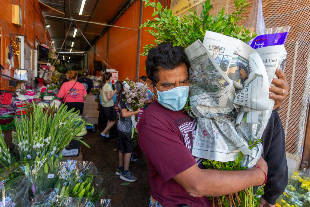 Businesses in the flower district in Skid Row reopen in time for Mothers Day on May 8, 2020 in Los Angeles, California.