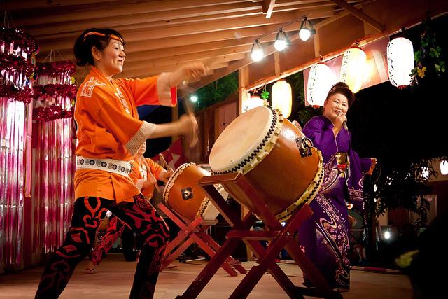 Kiyose Bon Odori dancers at an Obon festival in 2010.