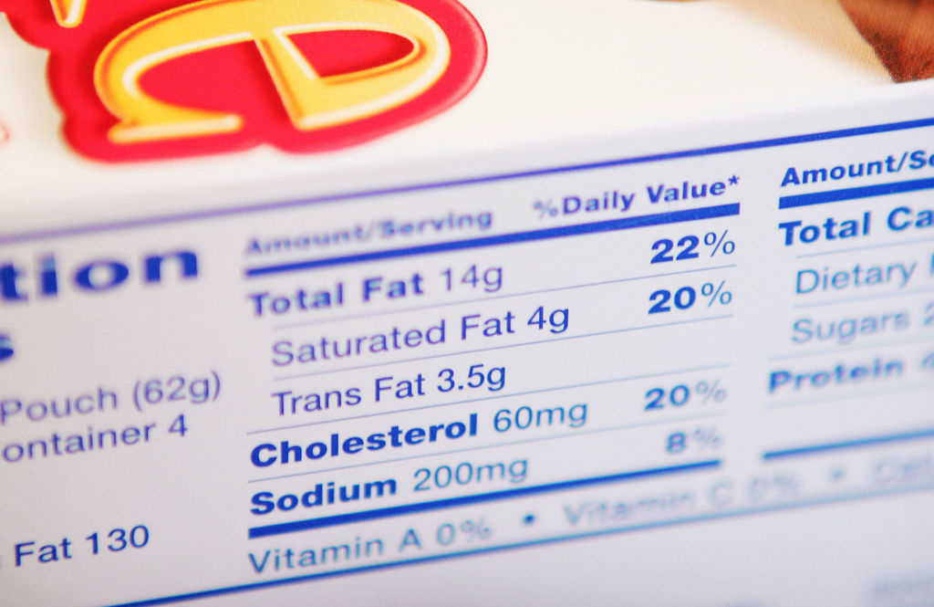 The label on a box of Hostess Brownie Bites lists 3.5 grams of Trans Fat January 3, 2006 in Chicago, Illinois. New Regulations from the Food and Drug Administration, which oversees most food labels, requires food manufacturers to list Trans Fats on products with 0.5 grams or more of Trans Fat. Trans Fat in food increases 'bad' cholesterol and increases the risk of heart disease.