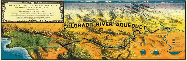 A map of the Aqueduct route from the Colorado River to the Coastal Plain of Southern California and the thirteen cities.