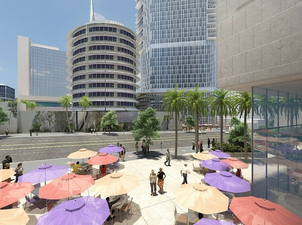 An artist's rendering of Millennium Partners' plans to develop an area near the Capitol Records building in Hollywood. The developers say they will spend $664 million on the project.
