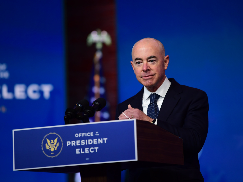 Alejandro Mayorkas, seen here at his introduction by then-President-elect Biden, has been confirmed to lead the Department of Homeland Security.