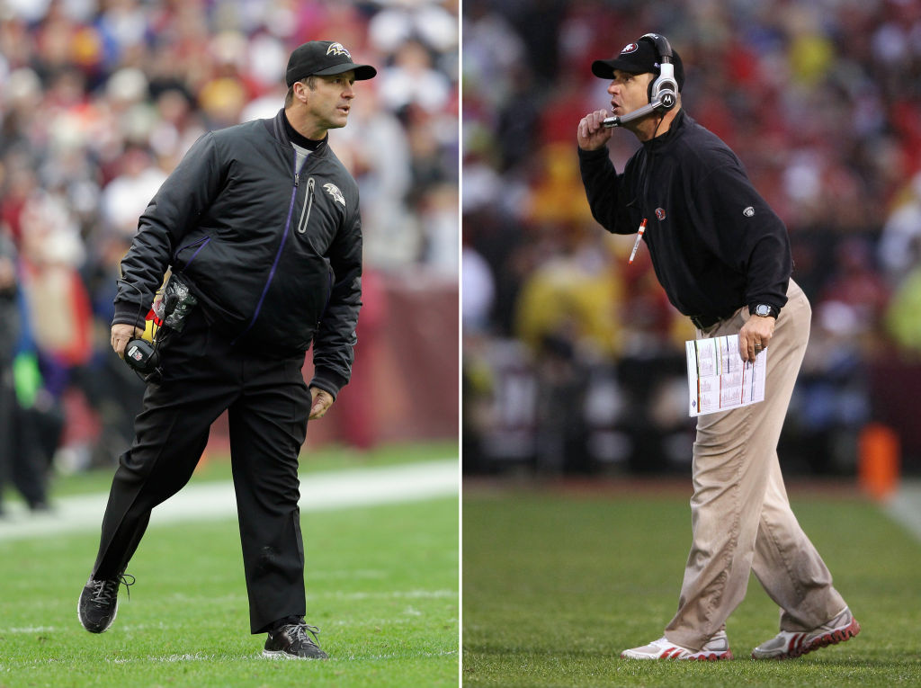 In this composite image a comparison has been made between Head coach John Harbaugh of the Baltimore Ravens (L) and his brother Head coach Jim Harbaugh of the San Francisco 49ers. Jim and John Harbaugh will become the first brothers to face each other as coaches in the Super Bowl.