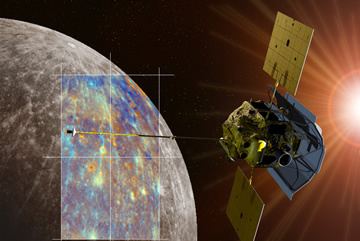 A depiction of the MESSENGER spacecraft is shown passing near the crater Hokusai and its extensive system of rays. Both the monochrome and enhanced color views of Mercury were obtained during MESSENGER's second Mercury flyby.