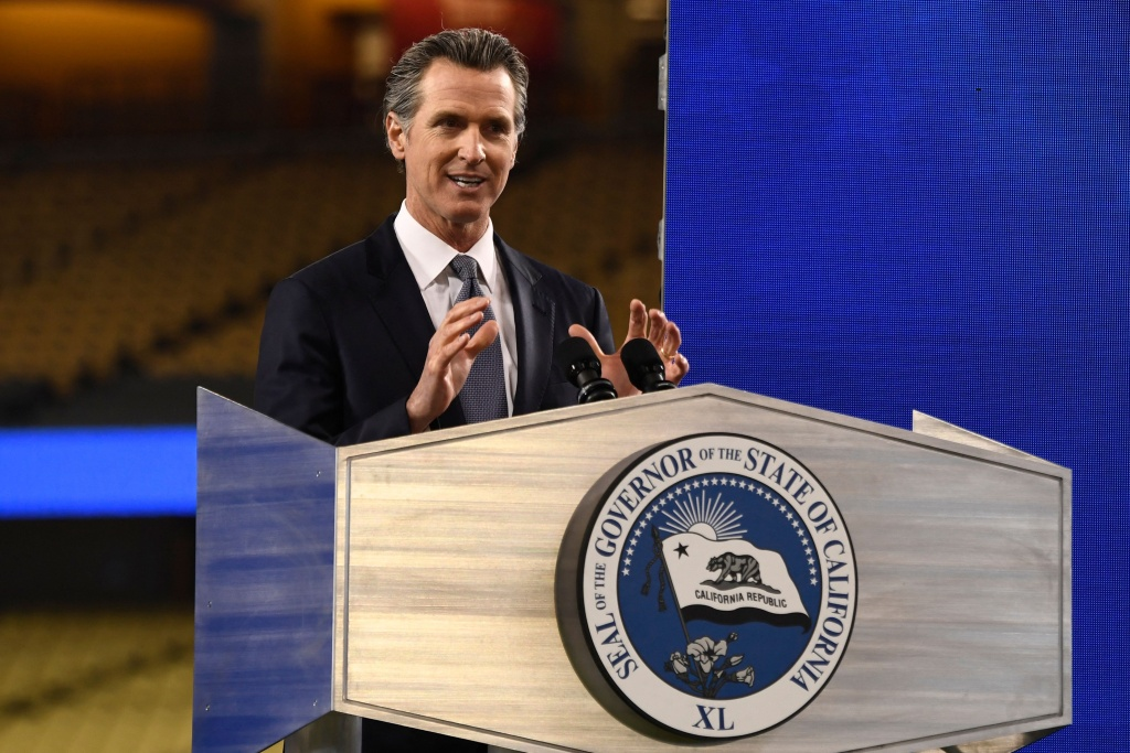 California Governor Gavin Newsom delivers the State of the State address at Dodger Stadium in Los Angeles, California, on March 9, 2021.