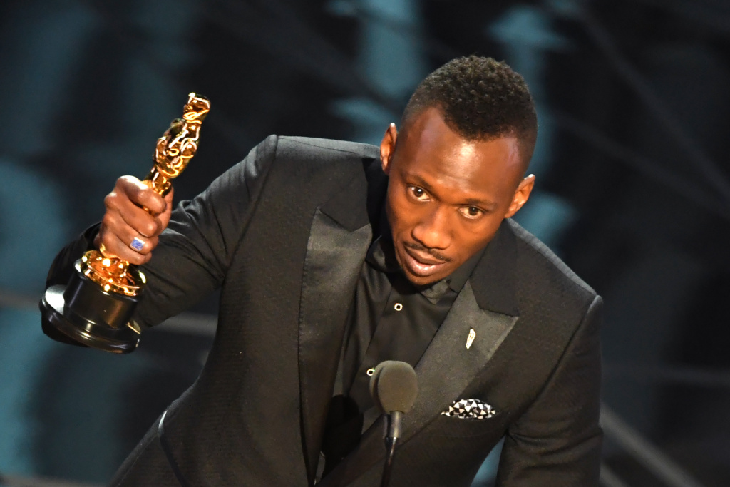 US Actor Mahershala Ali delivers a speech on stage after he won the award for Best Supporting Actor in