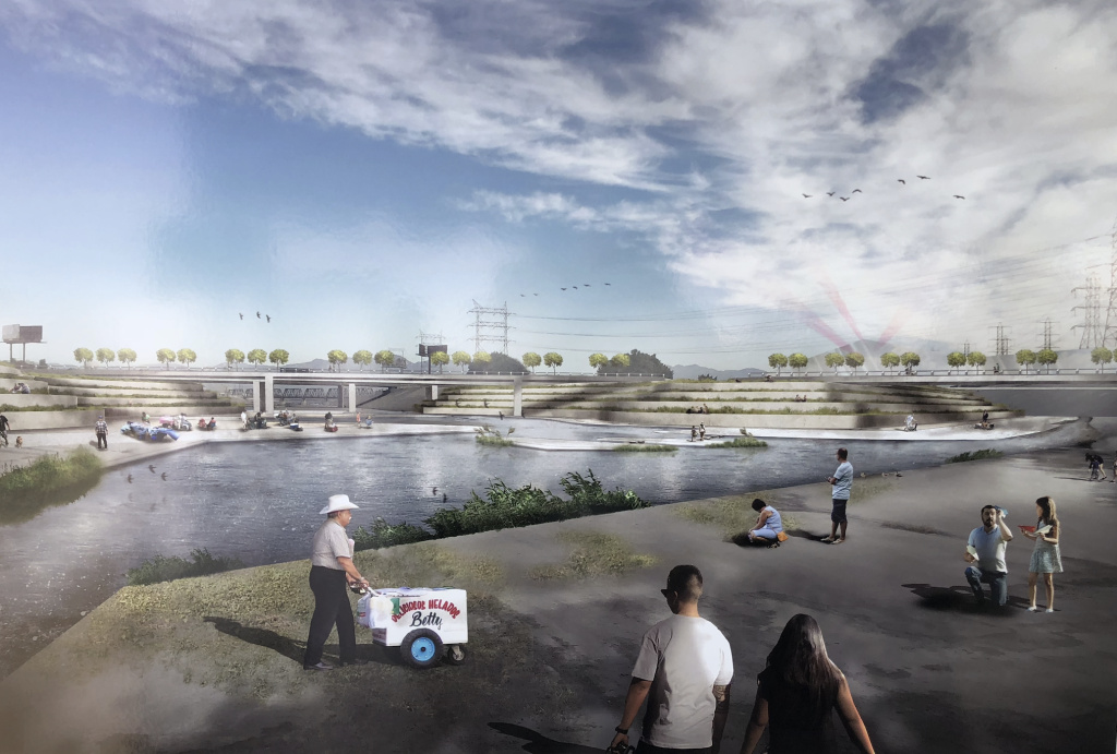 A rendering of how the Rio Honda confluence could look under a plan to revitalize the lower L.A. River.