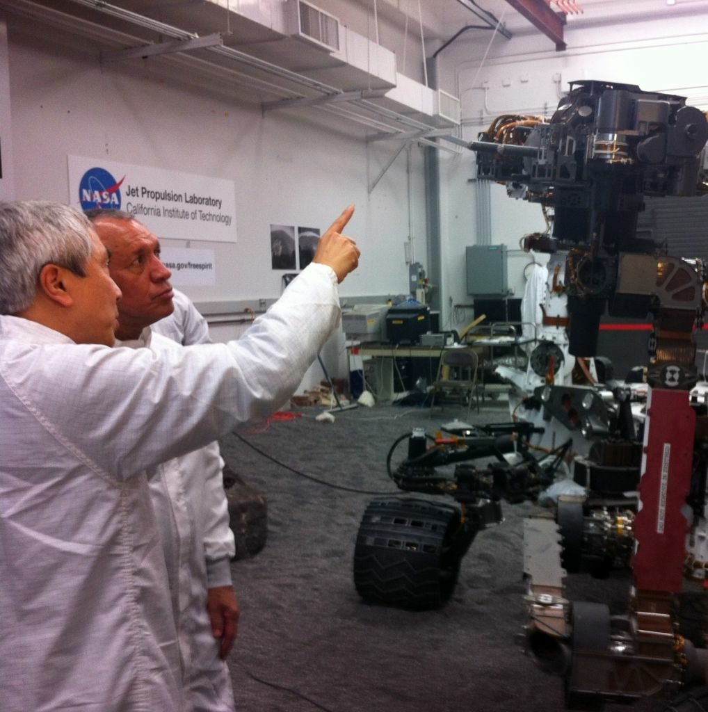 NASA Director Charles Bolden tours the Jet Propulsion Lab in Pasadena. Both entities are sponsoring the conference.