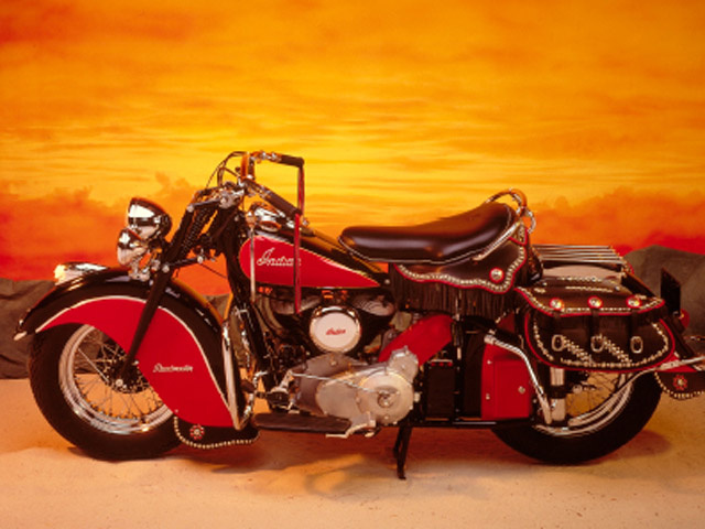 Indian Roadmaster motorcycle, 1948, Indian Motorcycle Manufacturing Company, on display at the Autry as part of its 25th anniversary Art of the West exhibit.