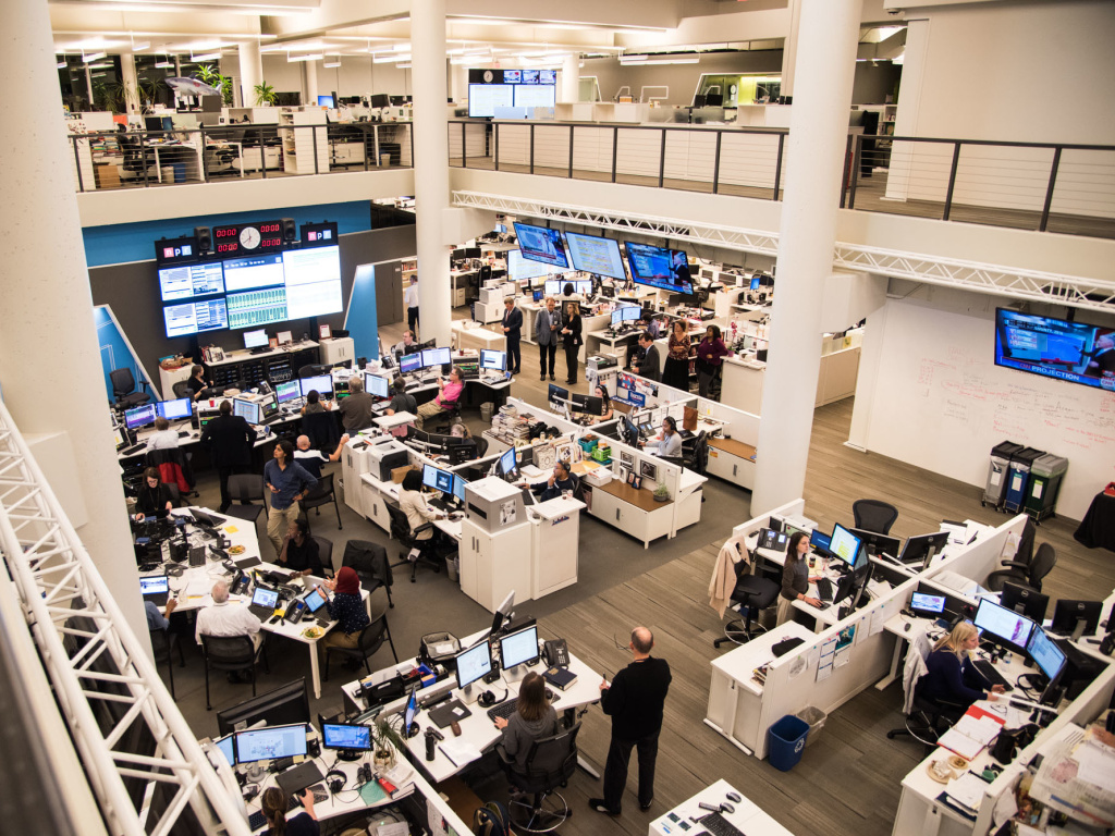 The NPR newsroom during election coverage on November 8, 2016, in Washington, D.C.