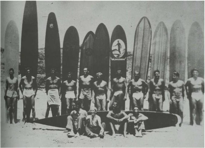 """Surfers from Santa Cruz to San Diego starting going to San Onofre beach in 1930's, for """"surfin' safaris"""" filled with """"Hawaiian guitar, Tahitian dancing, and no small amount of boozing,"""" according to one account."""