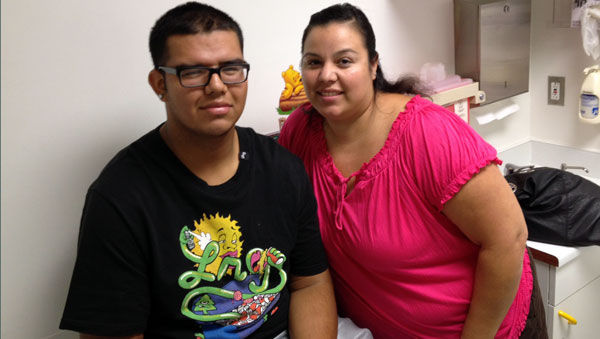 Jorge Cota and his mom Linda Ramos at Children's Hospital in Oakland. Cota weighed more then 320 pounds before cutting soda and junk food from his diet.