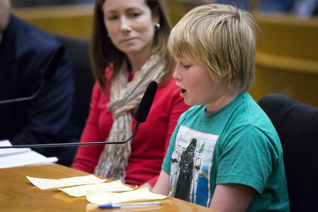 Cameron Michaels, 11, of Porter Ranch addresses the board on a gas leak in his neighborhood during a regular Los Angeles County Board of Supervisors meeting on Tuesday, Nov. 24, 2015. Michaels, who is a fifth grader at Castlebay Lane Elementary School, says he has headaches and nosebleeds. He also testified to the LAUSD board Nov. 15, 2016 calling for the Aliso Canyon gas field to be shut down.