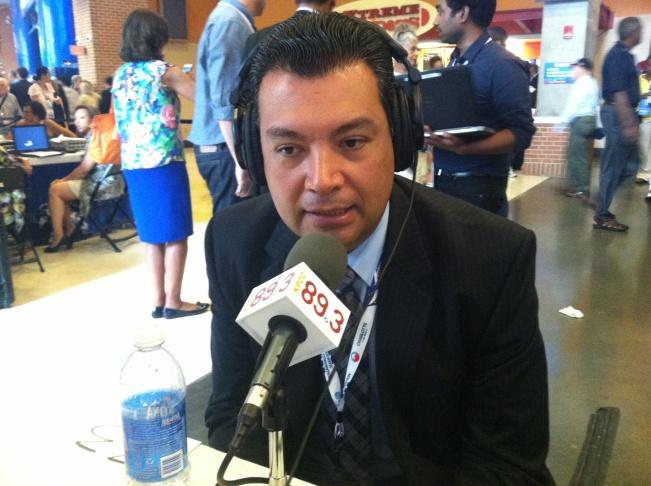 California State Senator Alex Padilla speaks with KPCC's Patt Morrison in Charlotte, North Carolina on September 4, 2012.