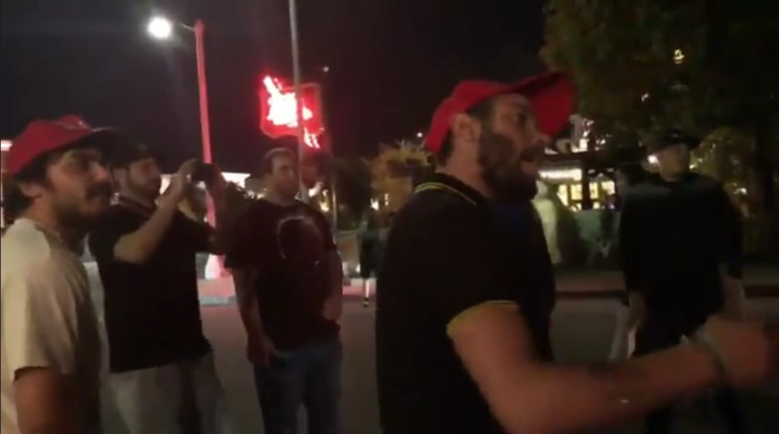 A still from a video posted on Twitter captured part of a confrontation between Proud Boys and Defend North East Los Angeles.