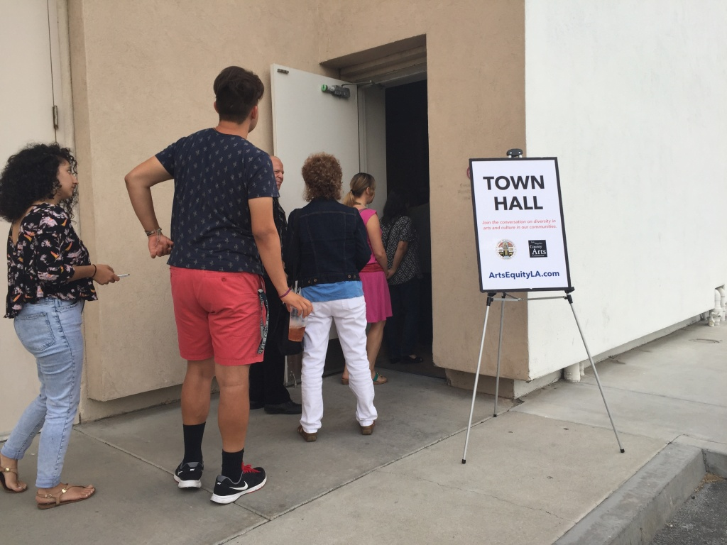 A line stretched out the door for a town hall event at the Museum of Latin American Art in Long Beach.
