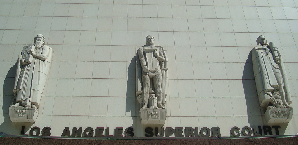 File: Reliefs showing the evolution of law outside the Stanley Mosk Courthouse, L.A. Superior Court in downtown L.A.