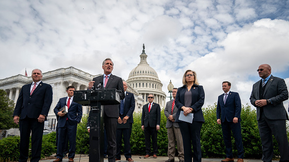 House Minority Leader Rep. Kevin McCarthy, R-Calif., speaks during a news conference outside the U.S. Capitol about lawsuit he and other Republican leaders filed  against House Speaker Nancy Pelosi and congressional officials in an effort to block the House of Representatives from using a proxy voting system to allow for remote voting during the coronavirus pandemic.