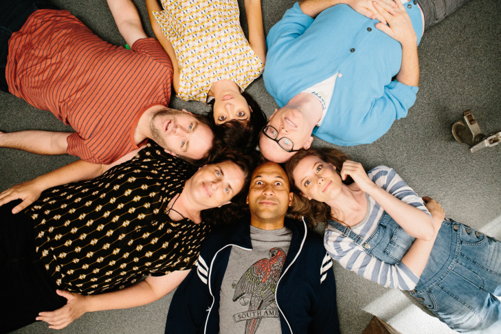 (L-R) Tami Sagher (Lindsay), Gillian Jacobs (Samantha), Keegan-Michael Key (Jack), Mike Birbiglia (Miles), Chris Gethard (Bill), Kate Micucci (Allison) in Mike Birbiglia's