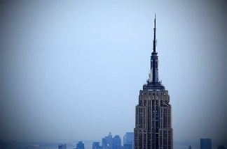 The Empire State Building over New York City.