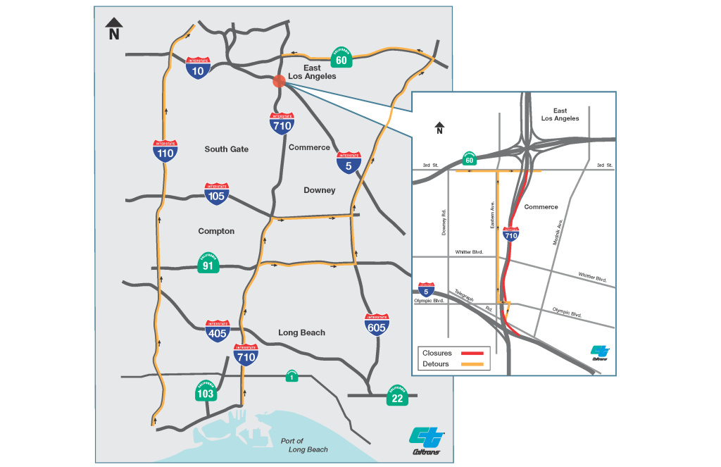 A map showing optional detours for the 710's weekend closures.