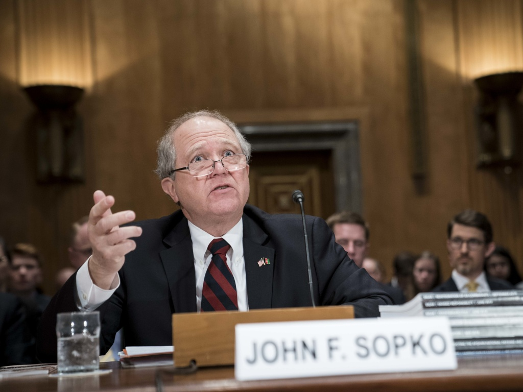 John Sopko, special inspector general for Afghanistan reconstruction, testifies before the Senate Homeland Security and Governmental Affairs Committee Tuesday.