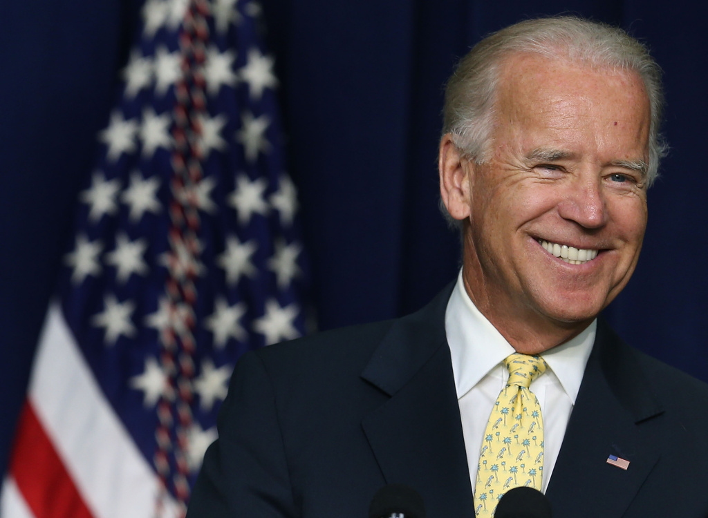 In this file photo, U.S. Vice President Joe Biden speaks at a White House Community Leaders Briefing on July 16, 2012 in Washington, DC. On Monday, Biden gave a public nod to Gov. Jerry Brown's efforts to spearhead high-speed rail in California and Las Vegas.