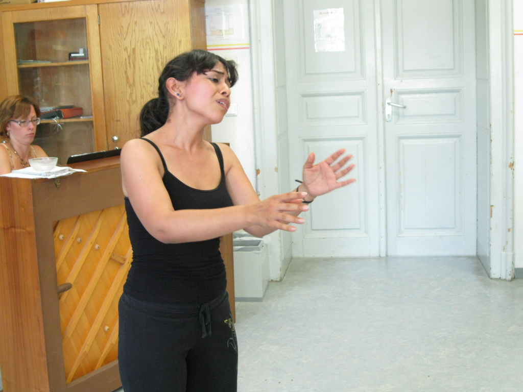 Amada Dominguez of West Covina practices an aria during an opera staging class at the American Institute of Musical Studies in Graz, Austria this summer.