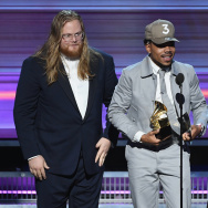 "Chance the Rapper accepts the Best Rap Album award for ""Coloring Book"" at the Grammy Awards. He also was named Best New Artist."